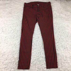 Red & Black Buffalo Check Plaid Pink Skinny Pants
